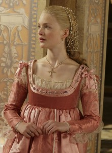 he Showtime version of Lucrezia Borgia, her childlike innocence successfully communicated by this lovely pink gown, which she never would have worn because weak dyes are for the poor.  Communication can be more important than accuracy