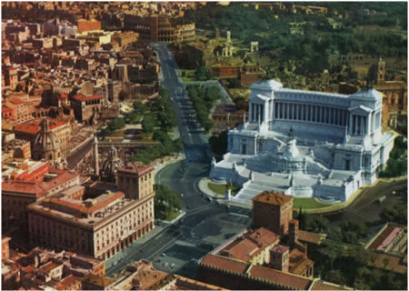 "The road he built through the forum, and the enormous white ""wedding cake"" monument he smacked onto the side of the poor innocent Capitoline hill.  The Temple of Jupiter would be just off-camera to the right, behind the huge white thing."