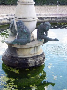 Bronze monkeys on a fountain in the Boboli Gardens, behind the Palazzo Pitti