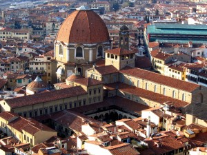 Florence's church of San Lorenzo, built by the Medici, with attached library.  The big dome is a later Baroque addition.